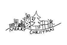 """Stempel """"Geschenke"""" 95x40mm Holzstempel FSC Frohe Weihnachten Merry Christmas"""