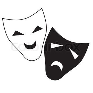 Vector teater maske isoleret illustration karakter tragedie og komedie