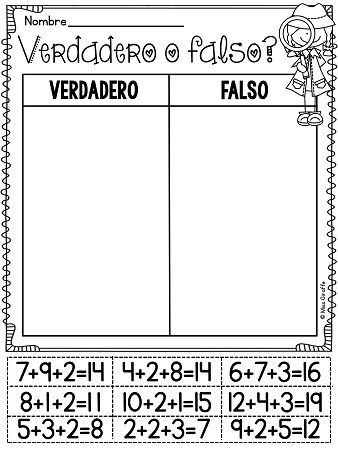 Verdadero o falso para sumando 3 números - adding 3 numbers worksheets centers and fun activities in Spanish!