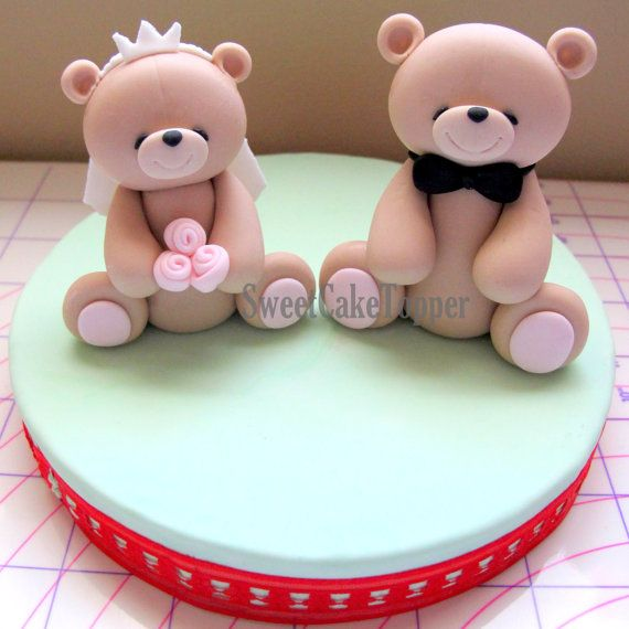 Groom and bride teddy bear wedding cake topper handmade for How to make edible cake decorations at home