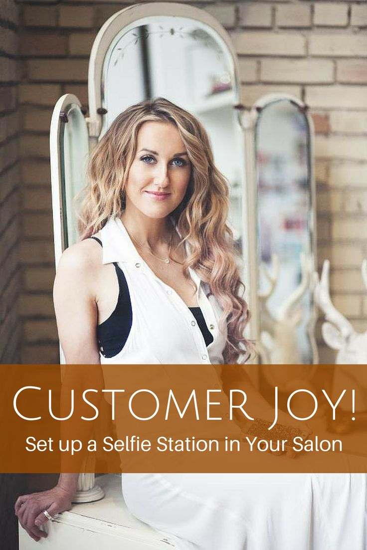 "Brilliant idea!  -- ""We would find clients would sometimes snap a selfie in their car after their appointment or once they got home and they might talk about their new hairstyle, but they didn't always mention the salon or the stylist,"" Christoffersen says. ""The selfie station is in a place surrounded by natural sunlight so clients get great pictures. It is fun, and now, it's a part of our culture. And, it's a great, organic form of advertising the salon."" - Kaite Lyn Christoffersen"