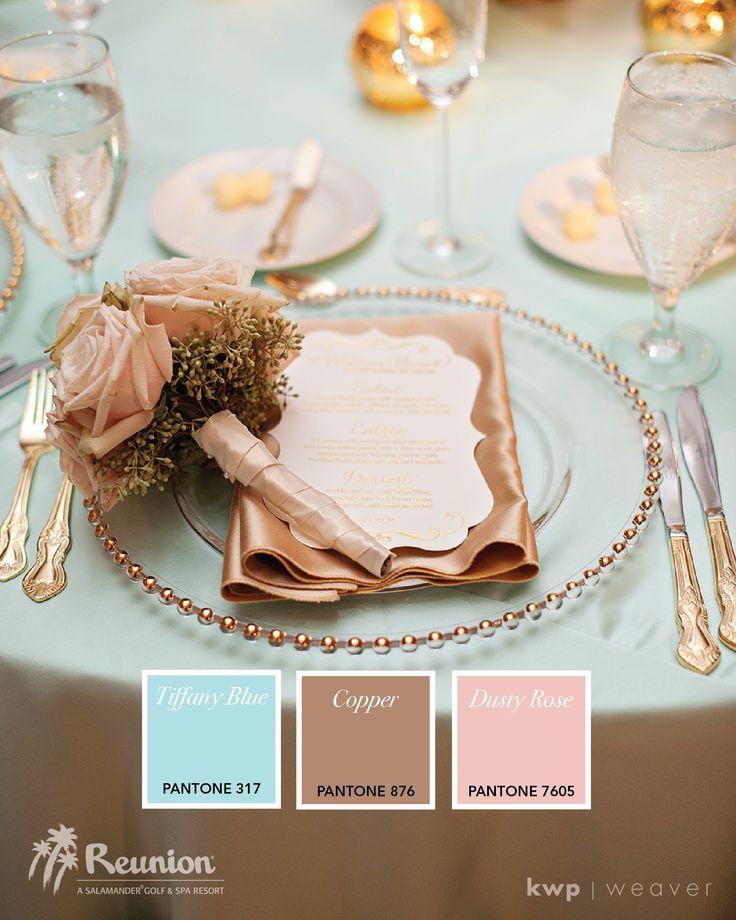 Wedding Color Palette: Blue, Copper & Rose | Photo by Kristen Weaver Photography | www.ReunionResort.com/WeddingBlog | #ReunionResort #OrlandoWedding #ColorPalette