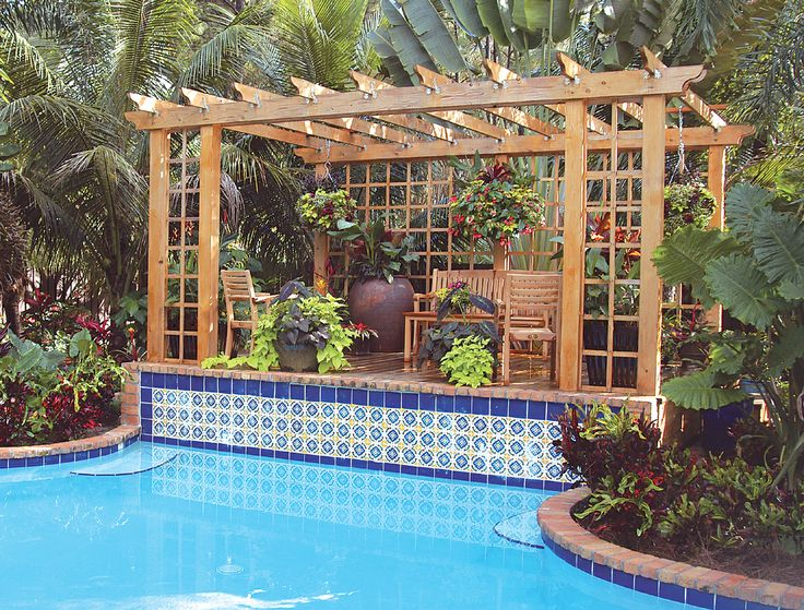 This Pergola Designed By Pamela Crawford Gives A Strong, Tropical Focal  Point To This Palm Beach County Pool Landscape. See More South Florida  Landscapes At ...