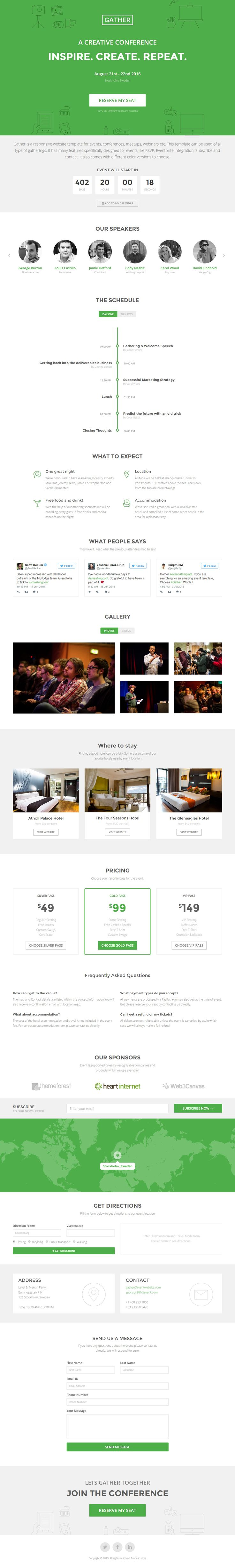 'Gather' is a responsive One Page HTML template suited for your upcoming event. Scrolljacking aside, the template comes packed with some neat features including integration with PayPal, Eventbrite and MailChimp. I've always been a fan of icon backgrounds and it looks good here. Last feature worth noting is the schedule vertical timeline has a neat day switcher and the responsive adaption works well.