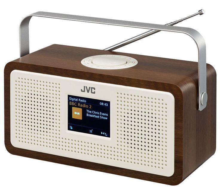 JVC RA-DS77 Portable DAB+/FM Clock Radio - Wood & Cream