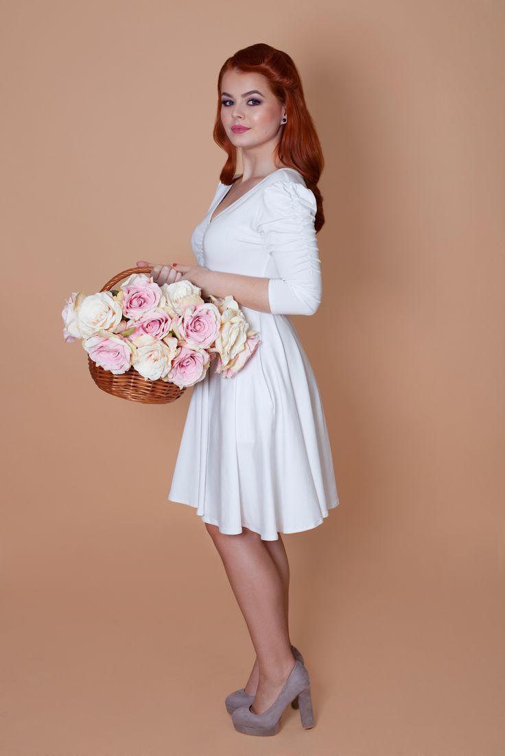 Biele šaty 3/4 rukáv Lovely