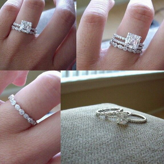 I love everything about this!! Princess cut solitaire with pave band and mismatched wedding bands.... Beautiful and unique; just like my little family! :)