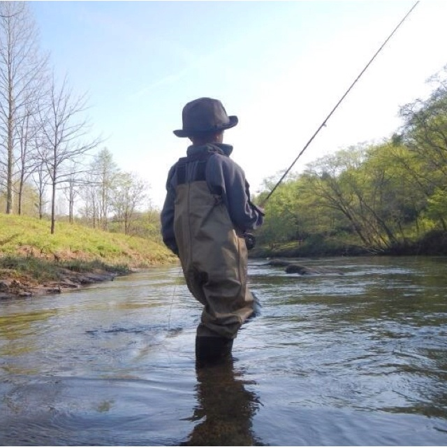 My 7 year old fishing the tail water of the toccoa river for Toccoa river fishing
