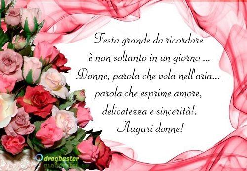 Cartolina con rose Rosse per fare gli auguri alle Donne