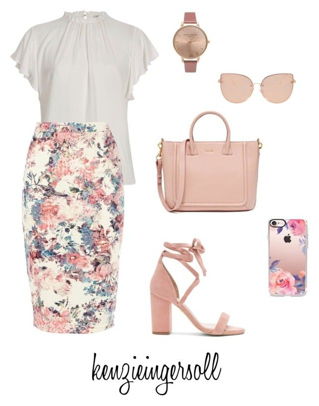 """rose gold"" by kenzieingersoll on Polyvore featuring River Island, Warehouse, Raye, Casetify, Topshop and Olivia Burton"