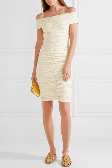 The Row - Hali Off-the-shoulder Ruched Stretch-crepe Dress - Cream - x small