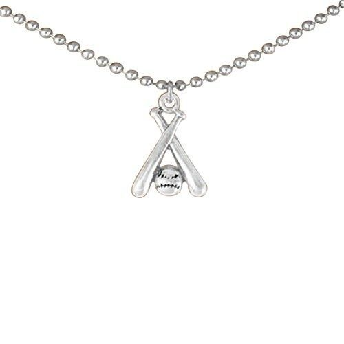 Softball Crossed Bats and Ball Hypoallergenic Adjustable Necklace Safe - Nickel & Lead Free