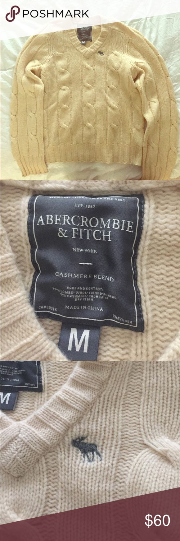 Abercrombie & Fitch men's v neck sweater in Medium Like new ! Worn only once. Beautiful Abercrombie and Fitch V-neck men's sweater in size Medium. Cashmere blend! Soft, warm, and breathable ! 95% lambs wool and 5% cashmere blend. Perfect for winter ❄️and the holidays coming up 😀 Let me know if you have any questions ! Abercrombie & Fitch Sweaters V-Neck