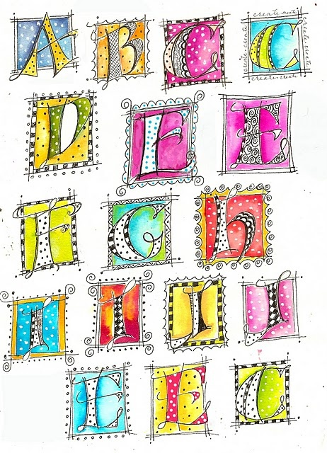 """I have been having fun doing some versal doodling. These letters are fun to draw and paint. Some are better than others but they are all addicting once you learn to draw the letterforms. I used Dr. Ph Martin's concentrated watercolors which makes the colors really pop."" - Martha Lever"