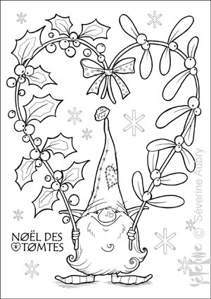 Embroidery idea santa gnome decorating tomte houx for Tomte coloring page
