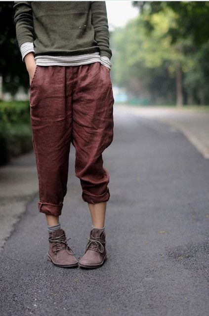 Johnature 2017 New Women Linen Pencil Pants Red Loose Casual Long Pants Elastic Waist Straight Vintage High Quality Pants