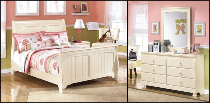 Cottage Retreat Full Size Sleigh Bedroom Set Cream