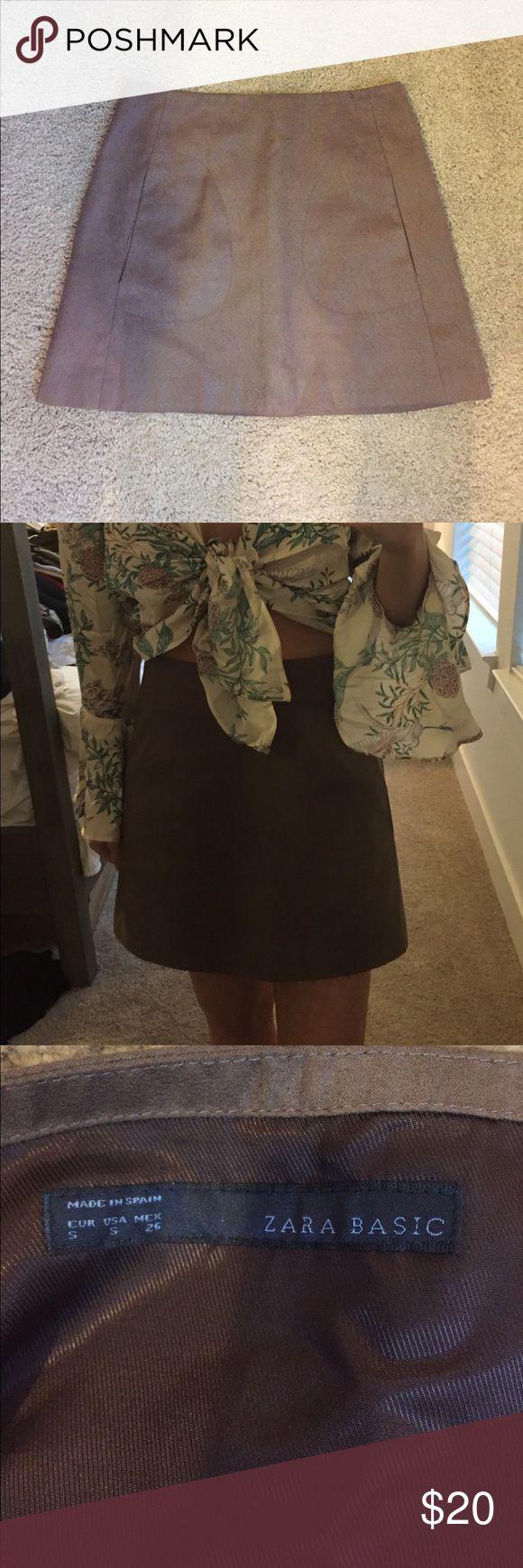 Faux Suede Zara Skirt Size S Faux Suede Zara Skirt Size S - True to size will fit a size 4 size Small Zara Skirts Mini