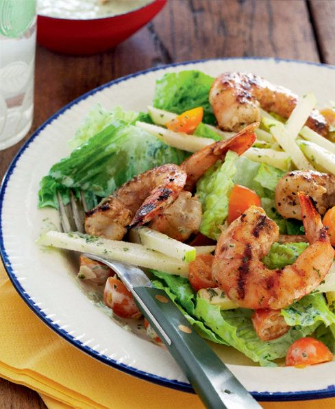 Prawns with Apple Tomato Salad