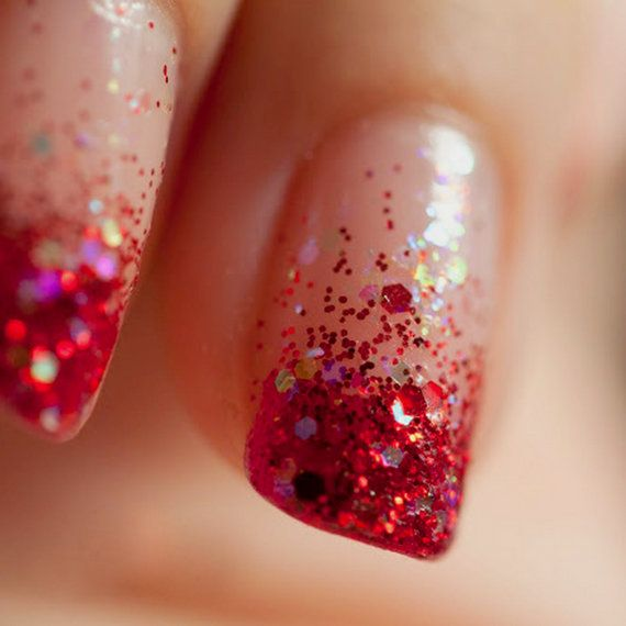 red glitter nail polish transparent nail art nail by BeautyLineAda, $7.00