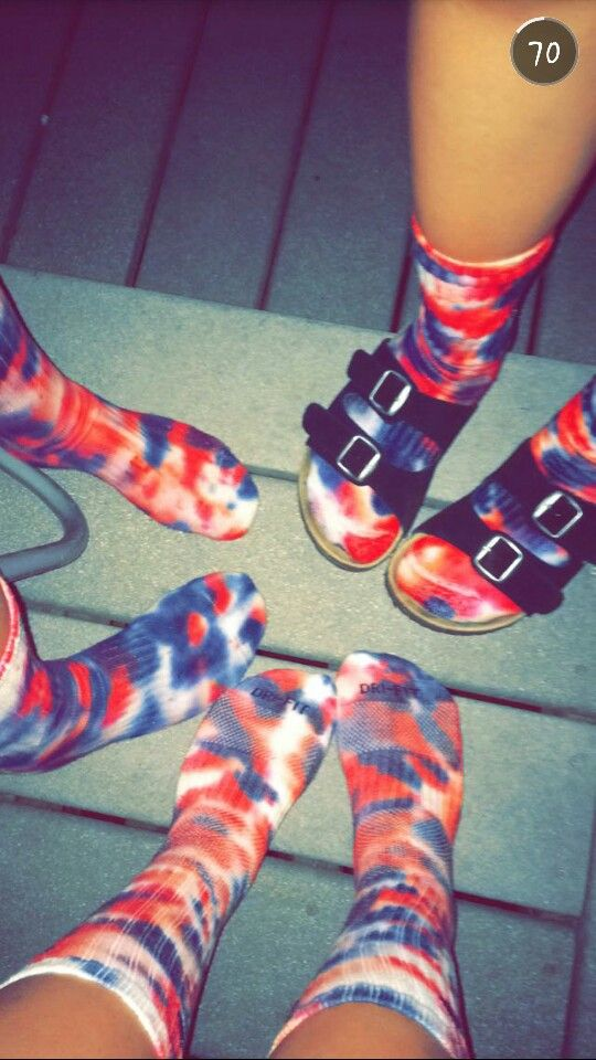 Chloe lilly's & I attempt on Nike tie dye socks. Not to shabby