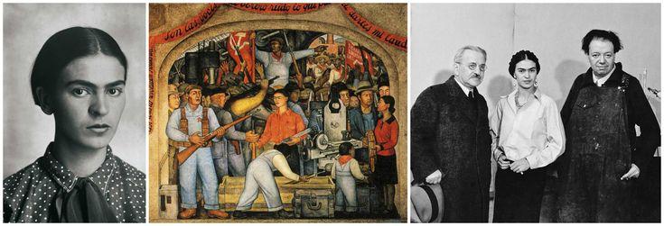 Фрида Кало и мода. Фото юной Ф. Кало, фреска Д. Риверы (в центре в красной блузеизображена Фрида), на фото справа: Альберт Кан, Фрида Кало и Диего Ривера.
