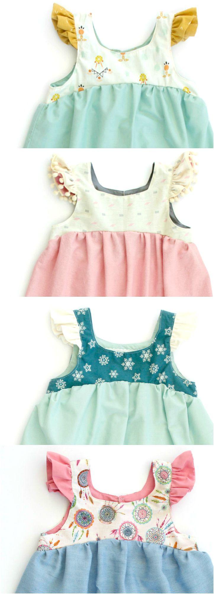 Diseña un vestidito con volantes en las mangas. #baby #bebé #ideas #vestido