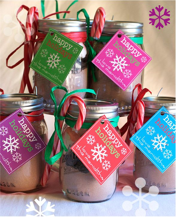 Hot chocolate with marshmallows and chocolate chips in a jar. Homemade Christmas Gift