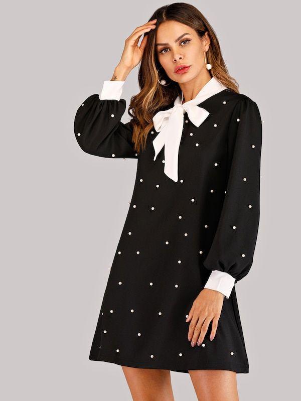 849a27823165 Knot Neck Beaded Detail Dress -SheIn(Sheinside) Cheap Dresses, Cute Dresses,