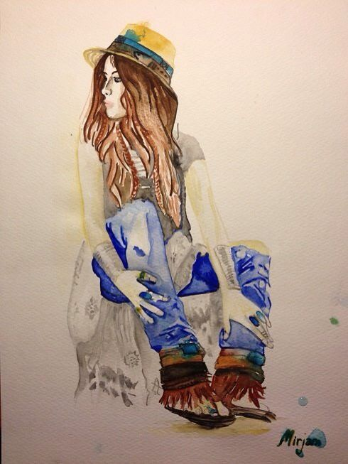 Woman with hat. Alternative fashion. Watercolor/aquarell painting. Facebook: Mirjam's Art