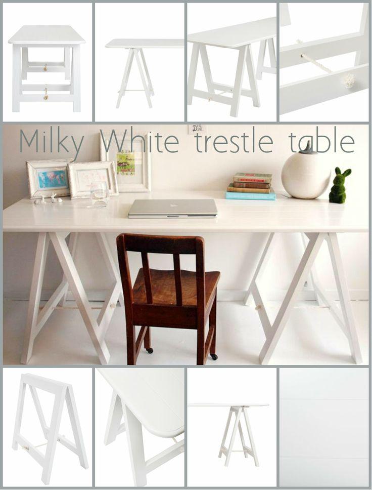 The stunning Milky White trestle table! www.plankandtrestle.com.au