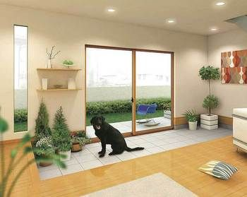 ペットとおしゃれに暮らすことも可能にする土間。お散歩からの汚れもさほど気にしなくてもいいので、家族の一員であるペットと家の中で暮らせます。 きっと、ペットも大満足のはず!