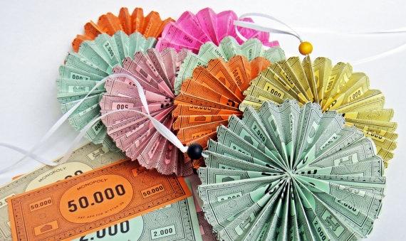 Paper Monopoly Money Small Rosette Ornament