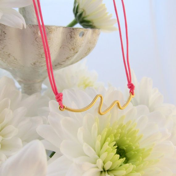 Squiggle Matte Gold Pendant Necklace on Hot Pink Cord - Perfect to layer! Wavy Line