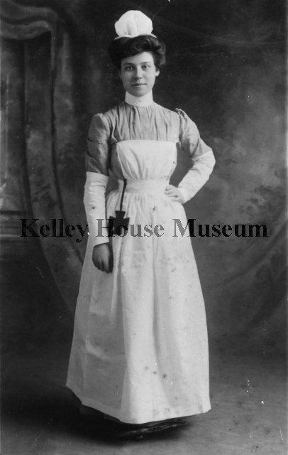 Photograph from ca. 1905 of Estelle Clark Preston in nursing uniform.  (Kelley House Museum)