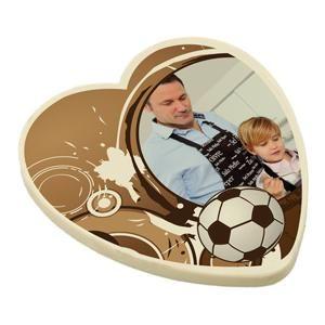 Chocoladehart voor vaderdag met eigen foto en tekst. Op www.shopwiki.nl #vaderdag #papa