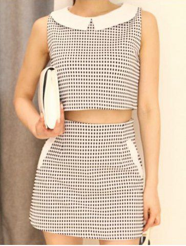 Stylish Peter Pan Collar Plaid Crop Top and Bodycon Skirt Suit For Women