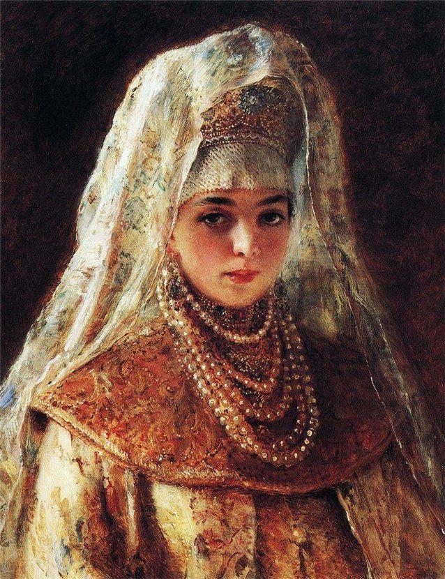 """Konstantin Makovsky (1839-1915) """"Boyaryshnya"""""""