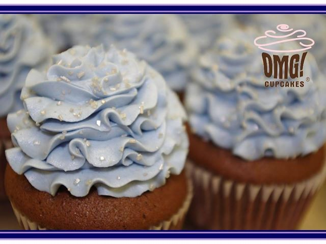 Blue and violet cupcakes for a bridal shower! Visit Omg! Cupcakes at	https://www.facebook.com/OmgCupcakesGP