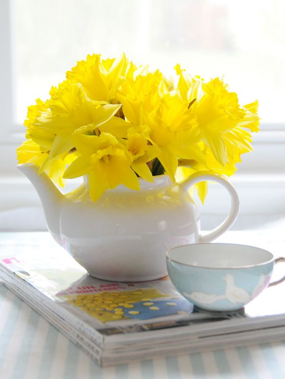 Daffodils inside a sweet tea pot make for an adorably fresh centerpiece.: Yellow Flowers, Floral Centerpieces, Flowers Bouquets, Teapots, Teas Pots, Flowers Arrangements, Sweet Teas, Teas Parties, Parties Centerpieces