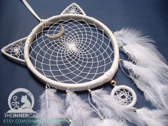 Artemis Dream Catcher / dreamcatcher / crescent moon / cat /gold black white / sailor moon inspired anime /feathers /bedroom home wall decor