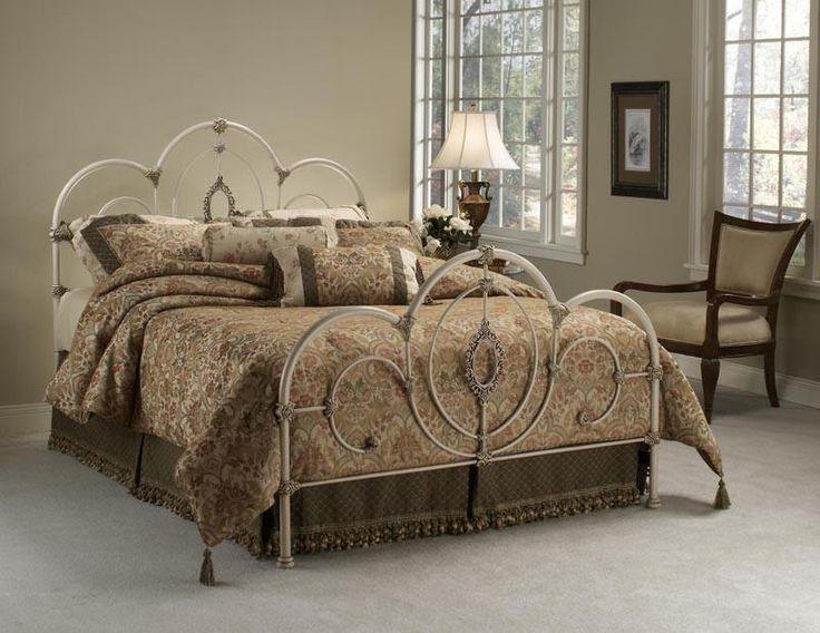 Hillsdale 1310BKR King Size Victoria Bed with Antique White & Satin Beige