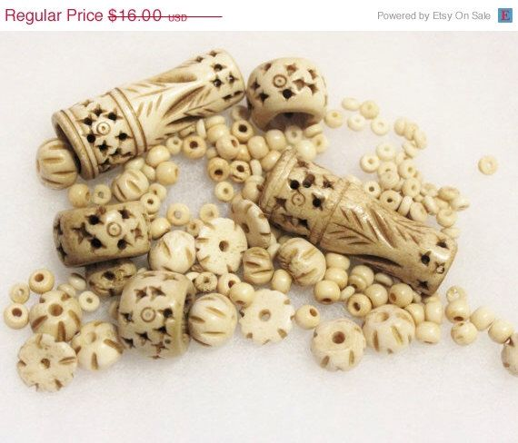CIJ SALE Carved Bone Beads From India, Bone Beads Assortment, Ethnic Beads (H7) by ColorSquare on Etsy https://www.etsy.com/listing/226271712/cij-sale-carved-bone-beads-from-india