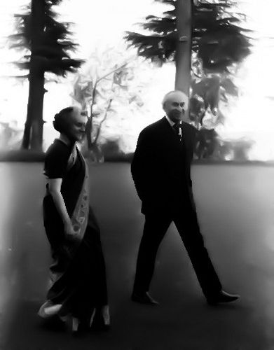 Zulfikar Ali Bhutto with Nehru's daughter Indira Gandhi in the lush lawns of Simla