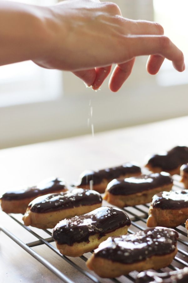 miniature salted caramel eclairs