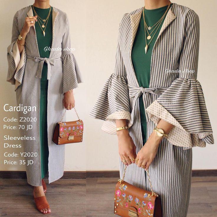 "1,827 Likes, 26 Comments - Ghada shop (@ghada.shop) on Instagram: ""Cardigan: Sold Out! Green Dress: Available كارديچان طويل بخامة و قصة مميزة عملية و أنيقة منسق مع…"""
