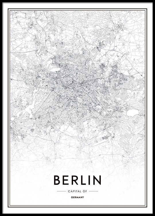 Poster with a black and white map of Berlin