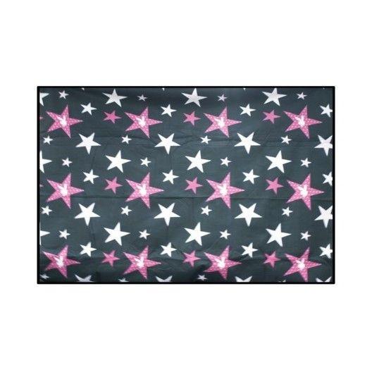 Plážová deka čiernej farby s ružovými hviezdičkami