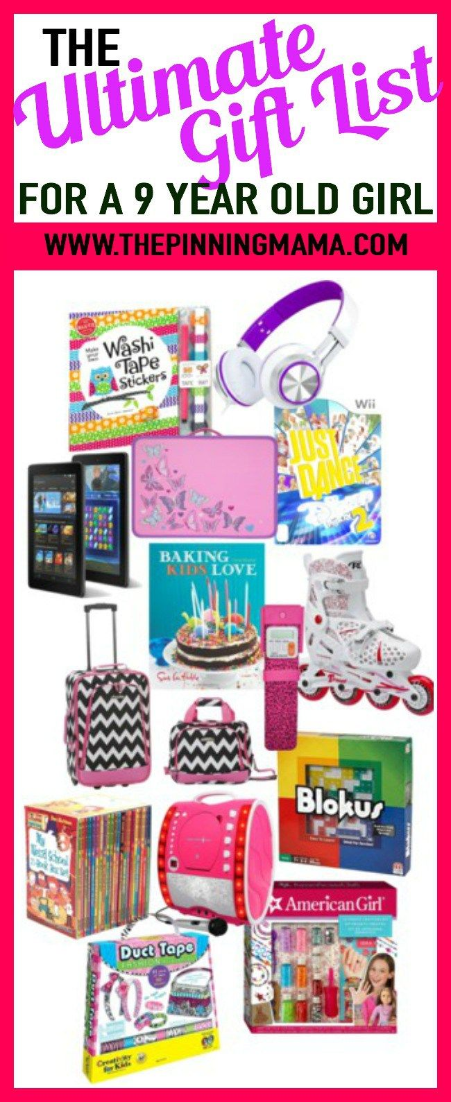 The ultimate list of gift ideas for a 9 year old girl- see 25+ of the best gift ideas put together by 2 moms with 6 kids between them! Presents for birthday or Christmas and anything in between that your 9 year old is sure to love!!