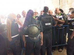 waiting to enter the Jaffa Gate in Jerusalem